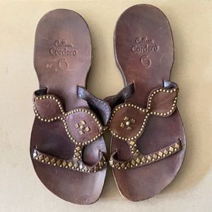 Calleen Cordero leather/brass studded sandals